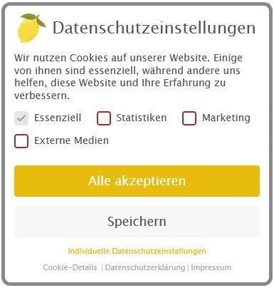 Screenshot vom DSGVO konformen Cookie Banner