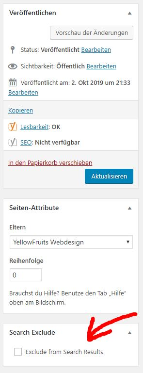 Seiten von WordPress Suchfunktion ausschliessen