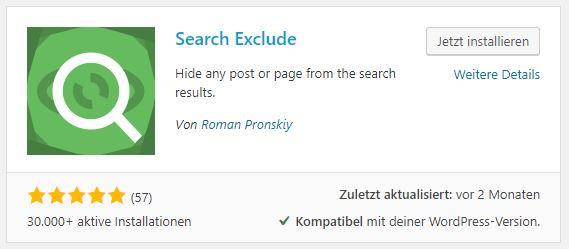 WordPress Plugin Seiten von Suchfunktion ausschliessen