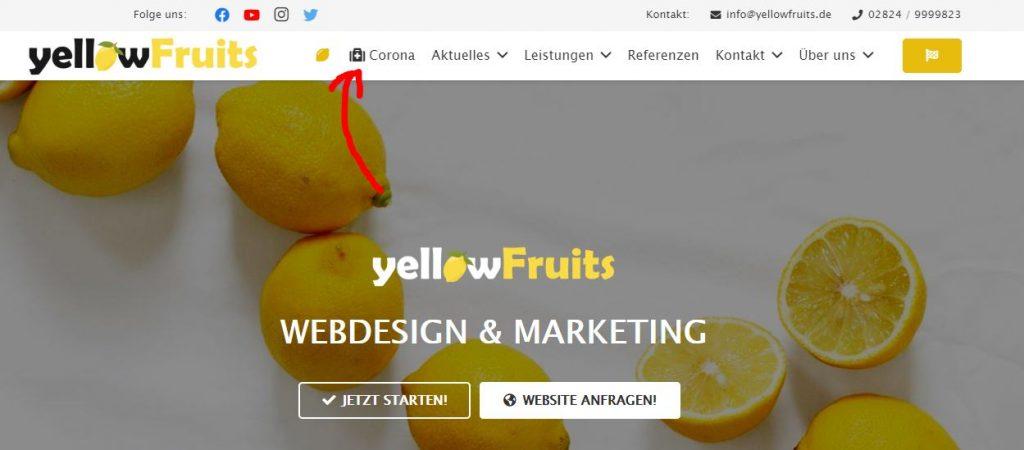 Corona Maßnahmen Website Screenshot